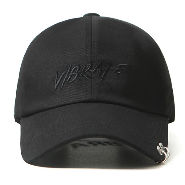 VIBRATE - TWIN RING BRUSH LETTERING BALL CAP (black)