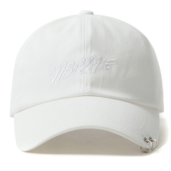 VIBRATE - TWIN RING BRUSH LETTERING BALL CAP (white)