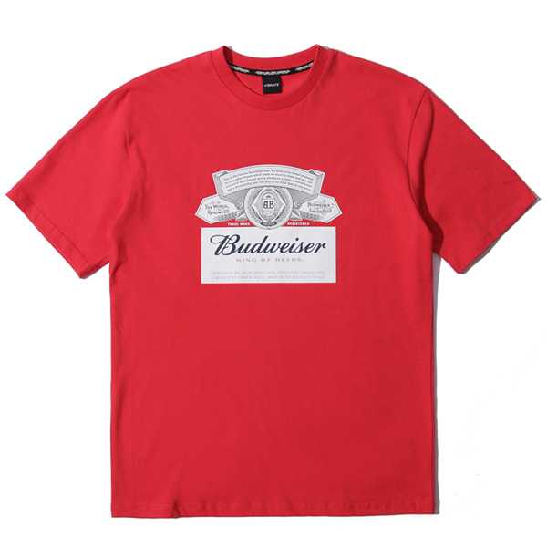 VIBRATE X BUDWEISER - SIGNATURE LOGO T SHIRTS (RED)