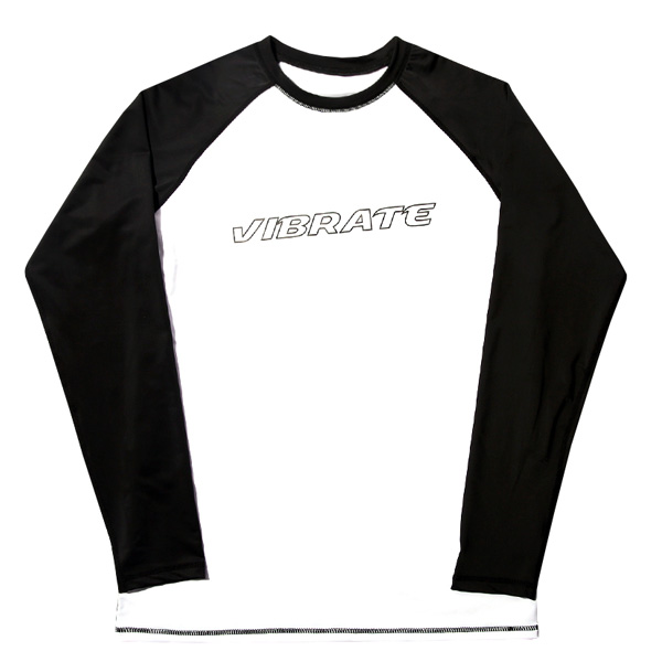 VIBRATE - BASIC LOGO RASH GUARD (WHITE & BLACK)