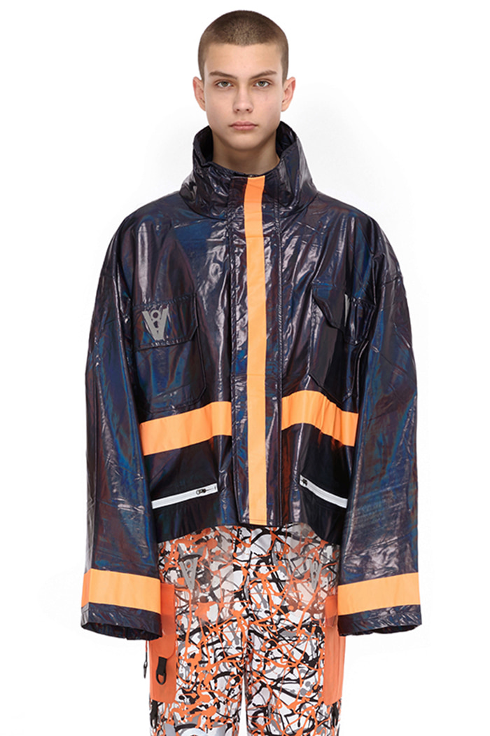 BLUE HOLOGRAM BIG ZIPUP JACKET (BLACK)
