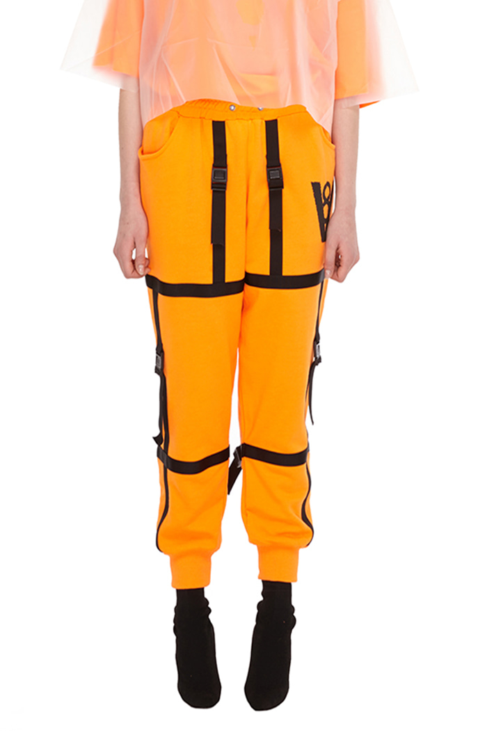 STRAP BUCKLE JOGGER PANTS (ORANGE)