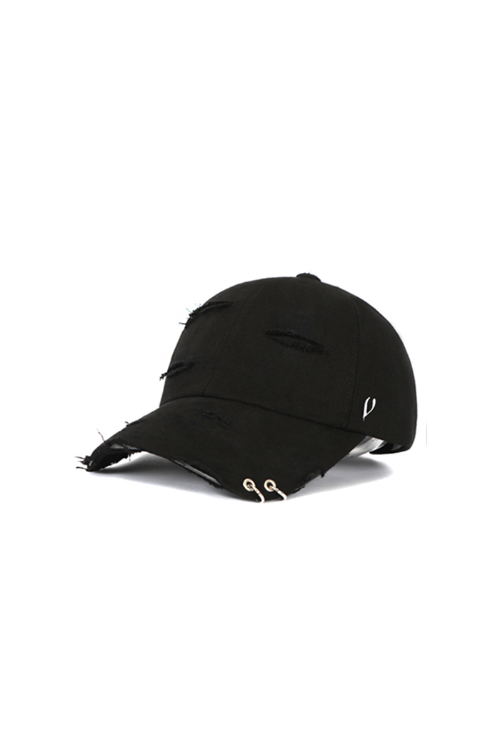 DAMAGED TWIN RING BALL CAP (BLACK)