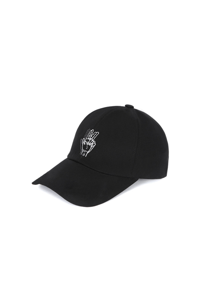 CLASSIC HAND SIGN BALL CAP (WASHING BLACK)