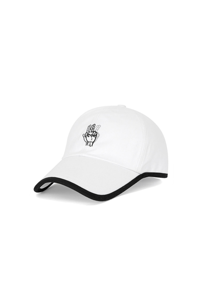ROUND PATCH HAND LOGO BALL CAP (WHITE)