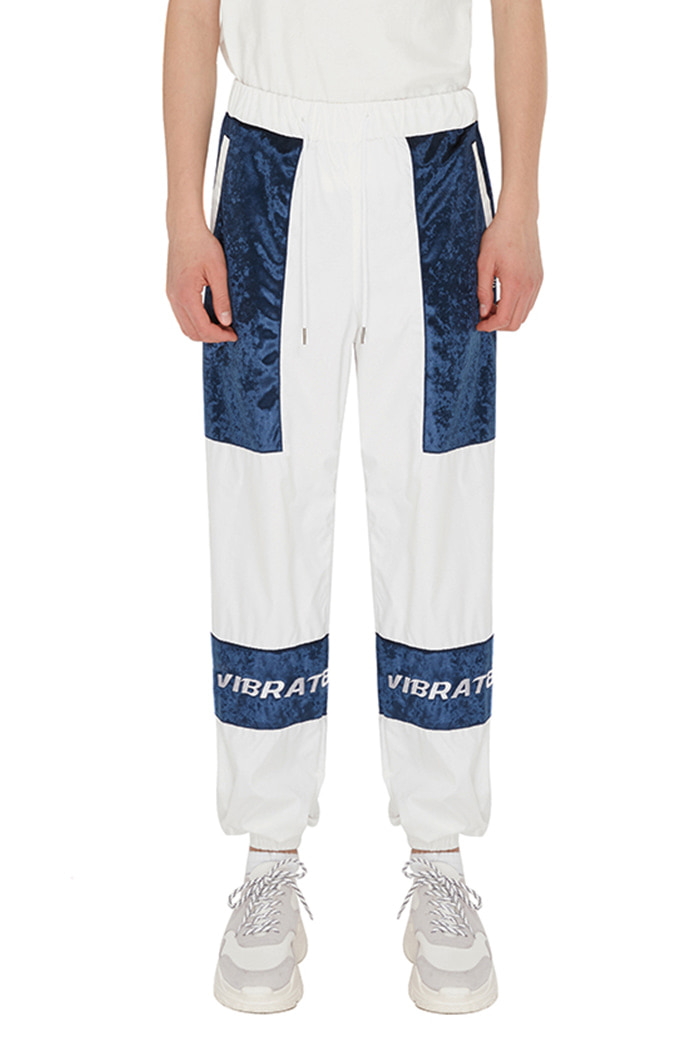 VELVET COLOR SCHEME JOGGER PANTS (WHITE&BLUE)