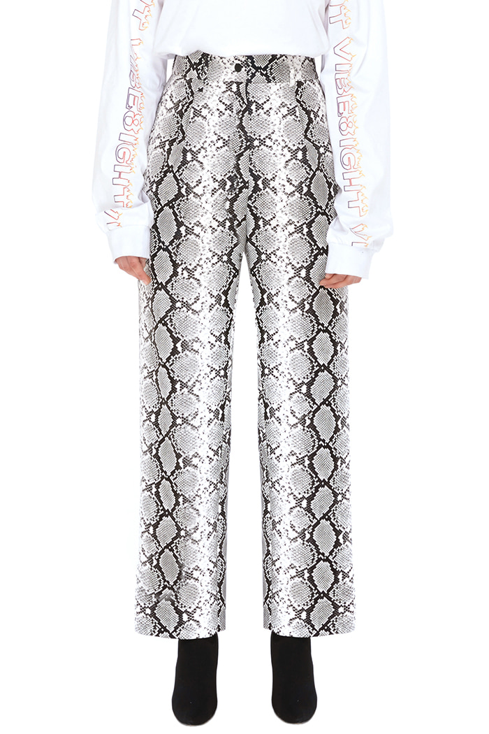 FAUX-PYTHON WIDE PANTS (WHITE)