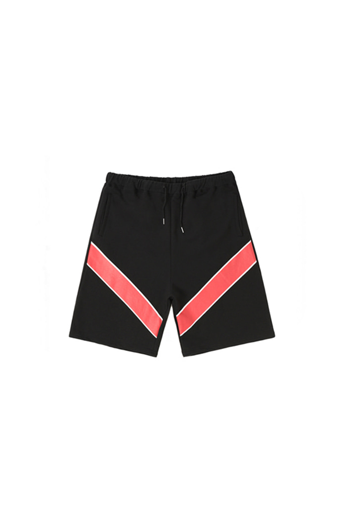 RED POINT V-LINE SHORT PANTS (BLACK)