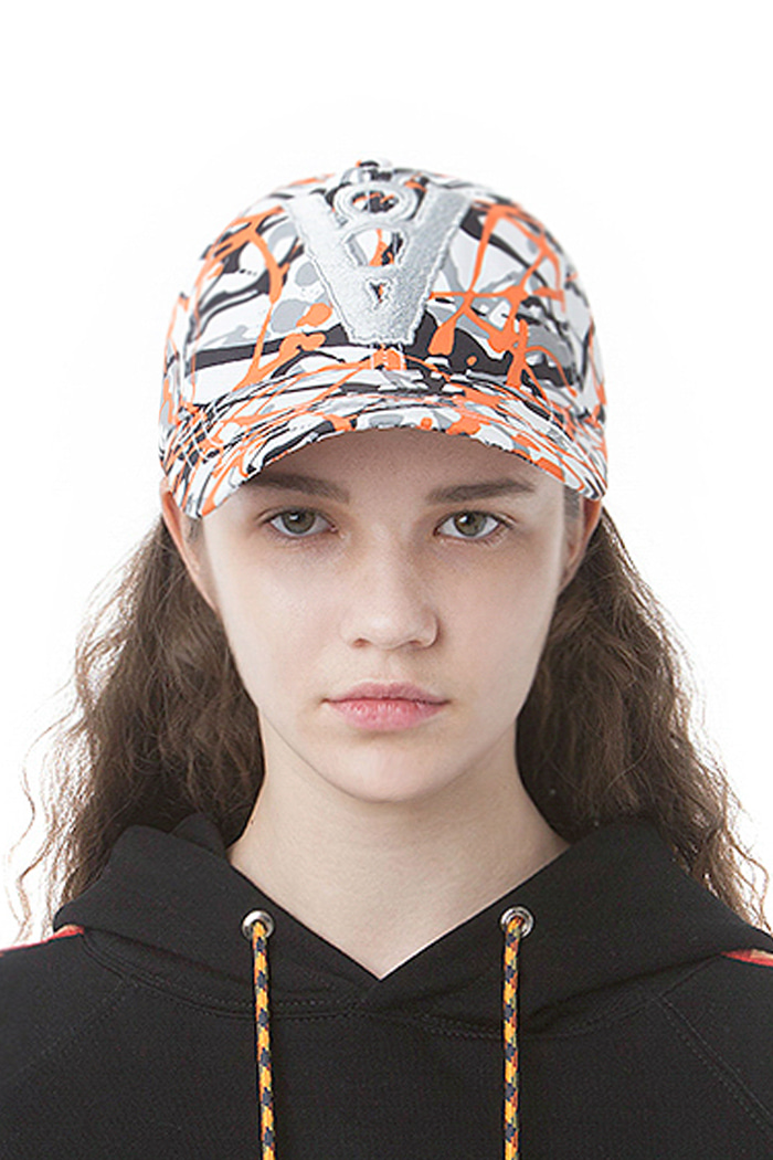 CAMOUFLAGE PATTERN BALL CAP (ORANGE)