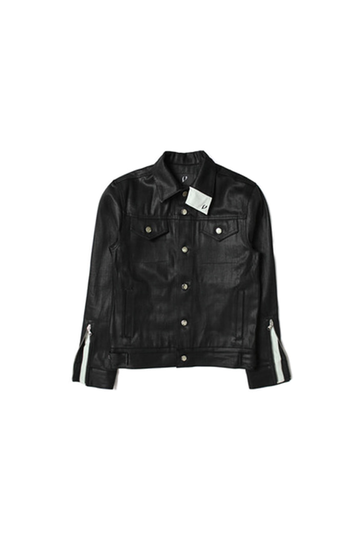 OIL BLACK JEAN ZIPPER JACKET (BLACK)