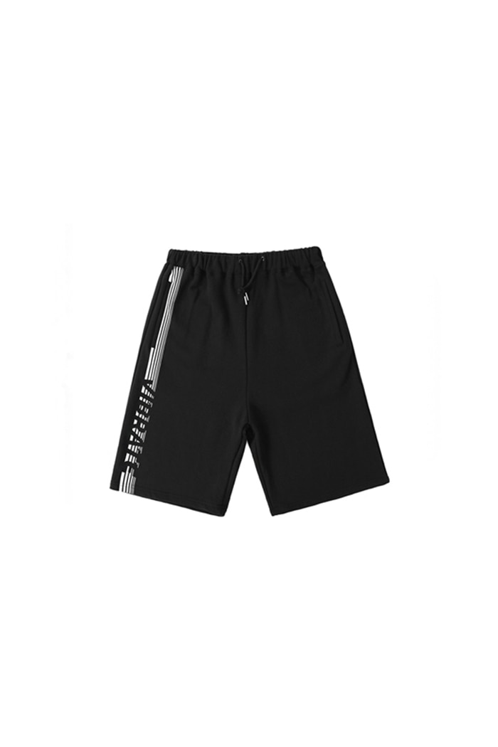 SIDE STRIPE LOGO SHORT PANTS (BLACK)