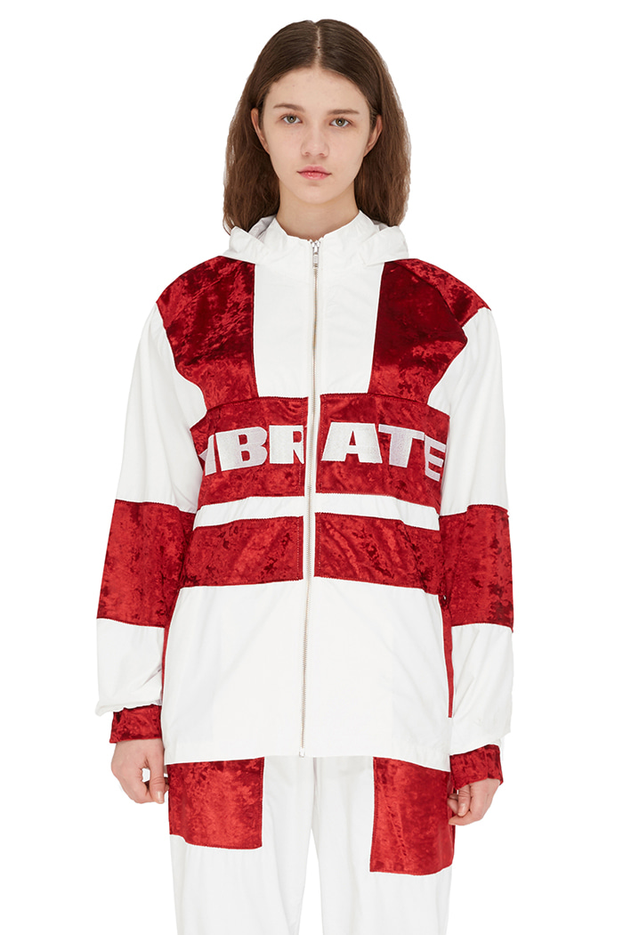 VELVET COLOR SCHEME WIND BREAKER (WHITE&RED)