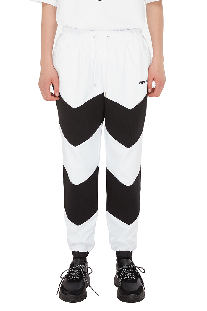 V COLOR SCHEME JOGGER PANTS (WHITE)