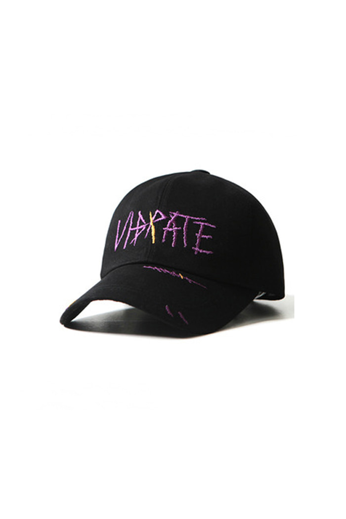 SCRATCH EMBROIDERY BALL CAP (BLACK)