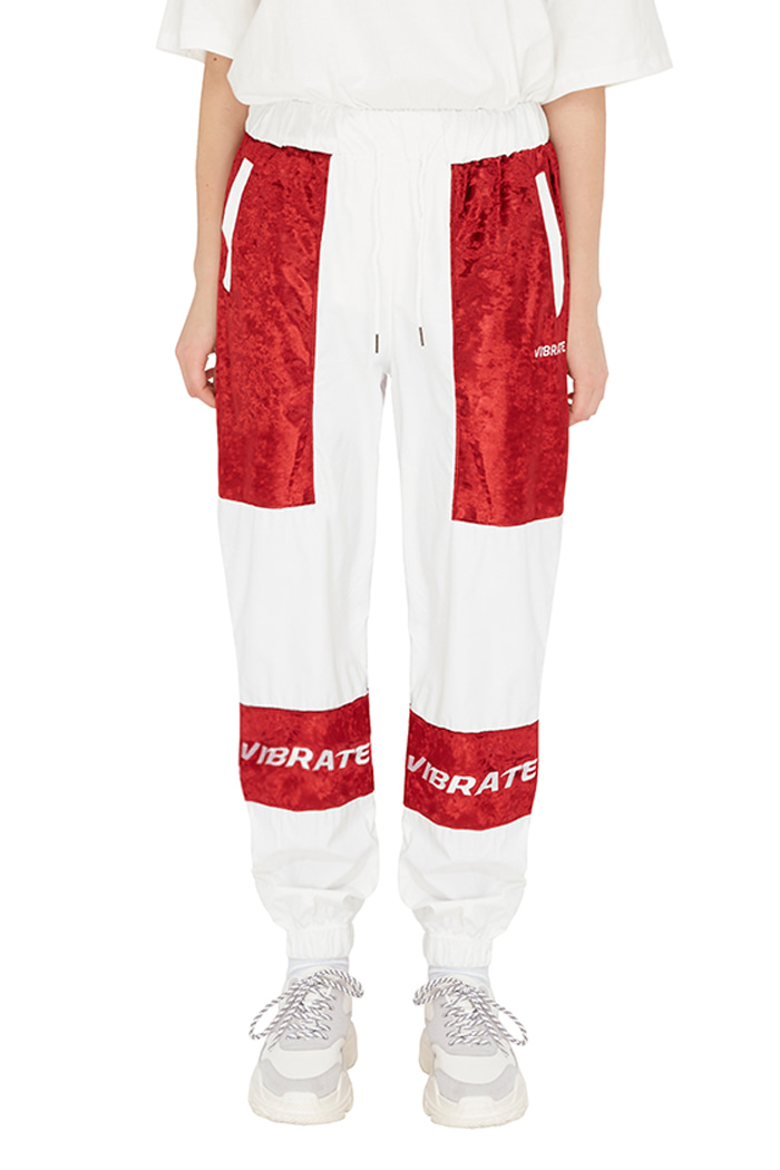 VELVET COLOR SCHEME JOGGER PANTS (WHITE&RED)