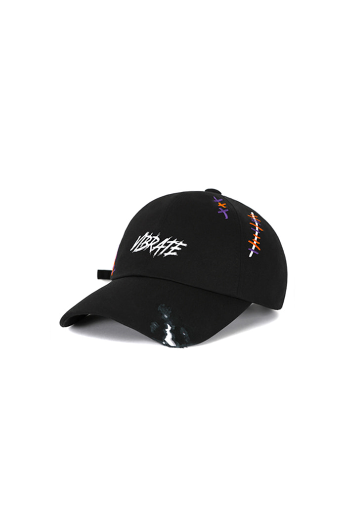 SCRATCH EMBROIDERY DAMAGED BALL CAP (BLACK)