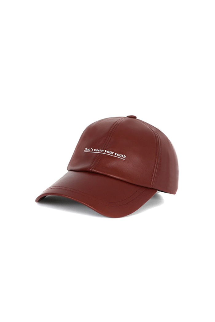 D.W.Y.Y LEATHER BALL CAP (WINE)