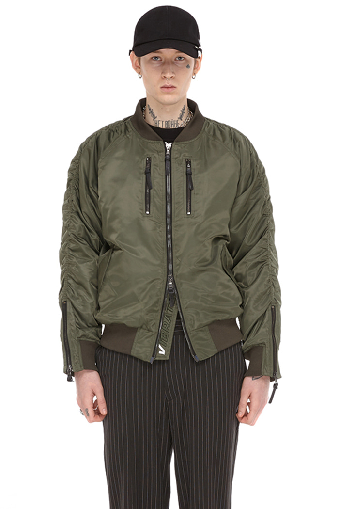 ZIPPER MA-1 JACKET (KHAKI)