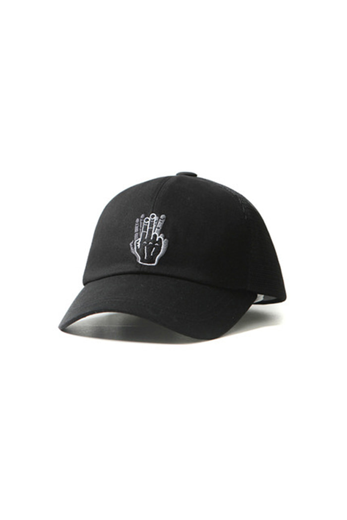 MESH HAND SHAKE BALL CAP (BLACK)