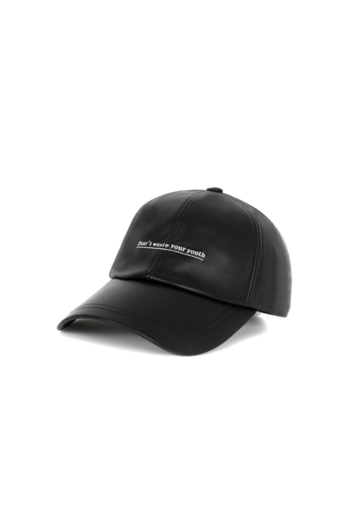 D.W.Y.Y LEATHER BALL CAP (BLACK)