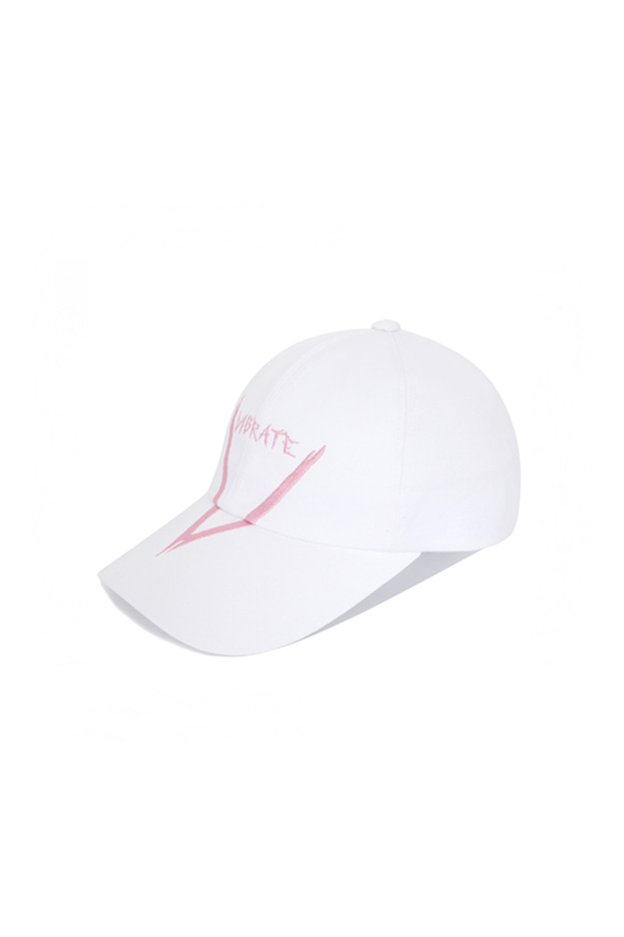 V GRAFFITI LOGO BALL CAP (WHITE&PINK)