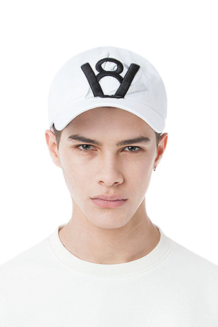 DOUBLE LOGO CROSS BALL CAP (WHITE)