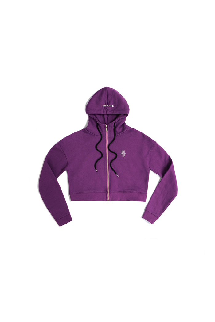 VIBRATE - CROPPED HOODIE ZIPUP (woman) (PURPLE)