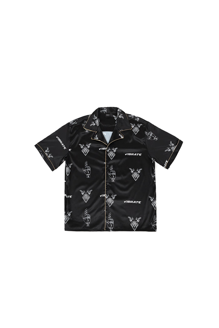 GOLDLINE PATTERN HILING SHIRT (BLACK)