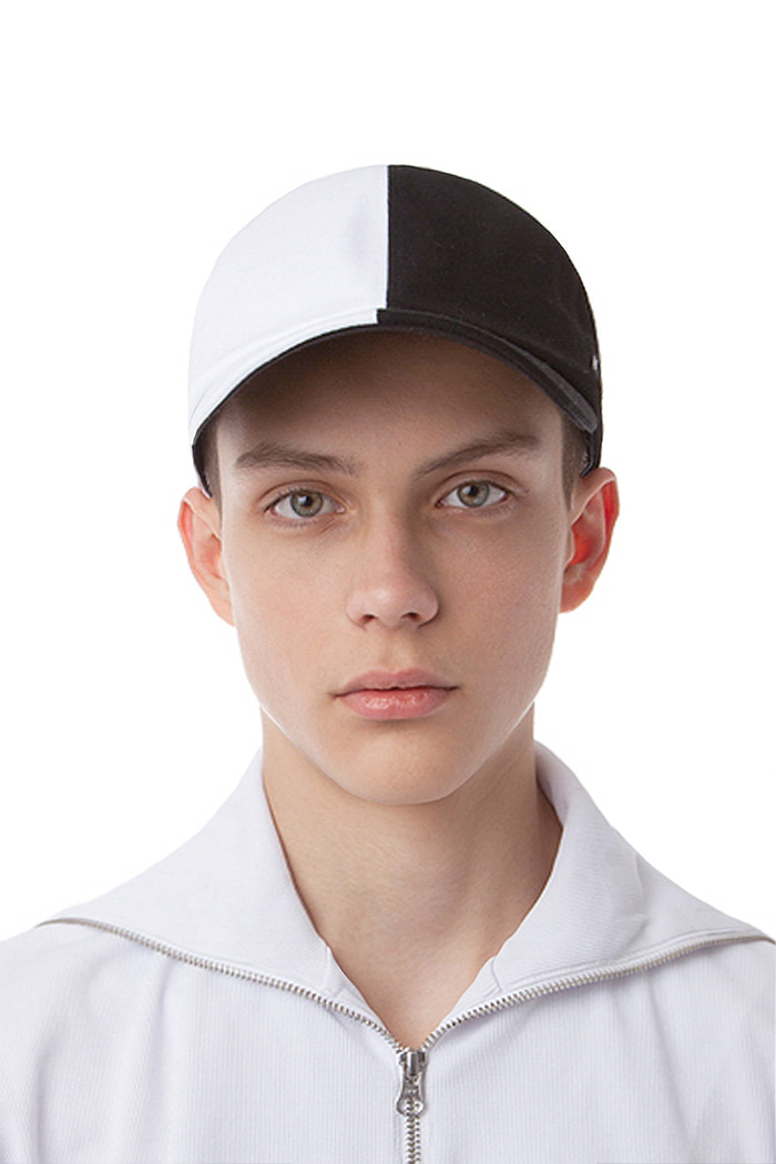 COTTON SPLIT BALL CAP (WHITE&BLACK)