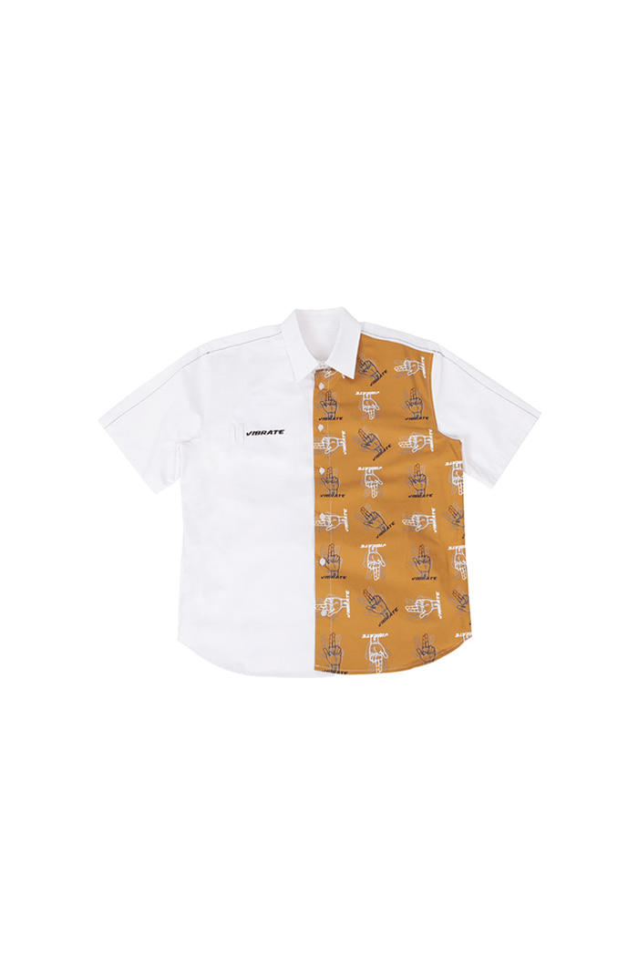VIBRATE - GOLDLINE FINGER PRINTED SHIRT (WHITE)