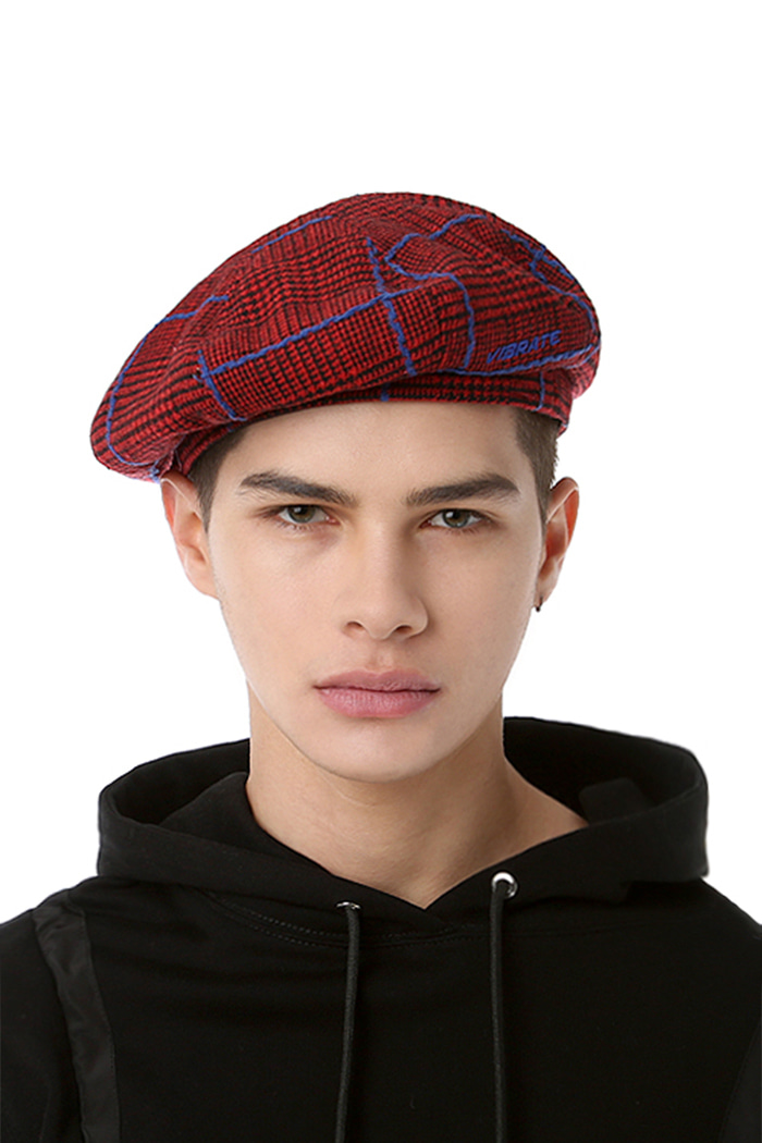 CHECKED PATTERN BERET (RED & BLUE)
