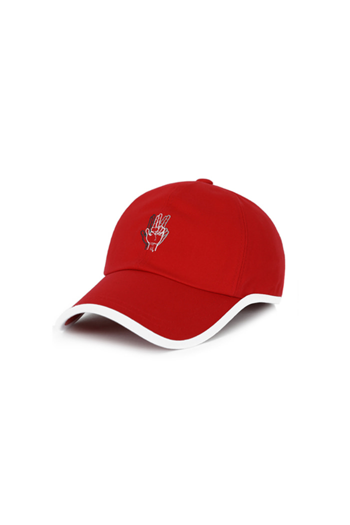VIBRATEKIDS - ROUND PATCH HAND LOGO BALL CAP (RED)