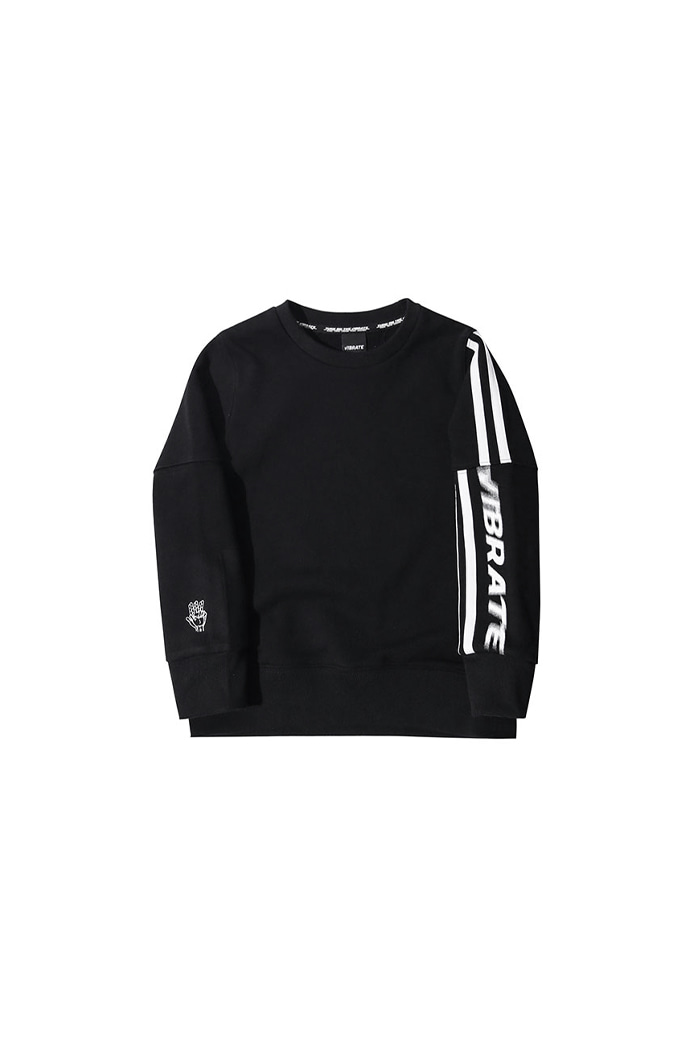 VIBRATEKIDS - CRACK STRIPE SWEATSHIRTS (BLACK)