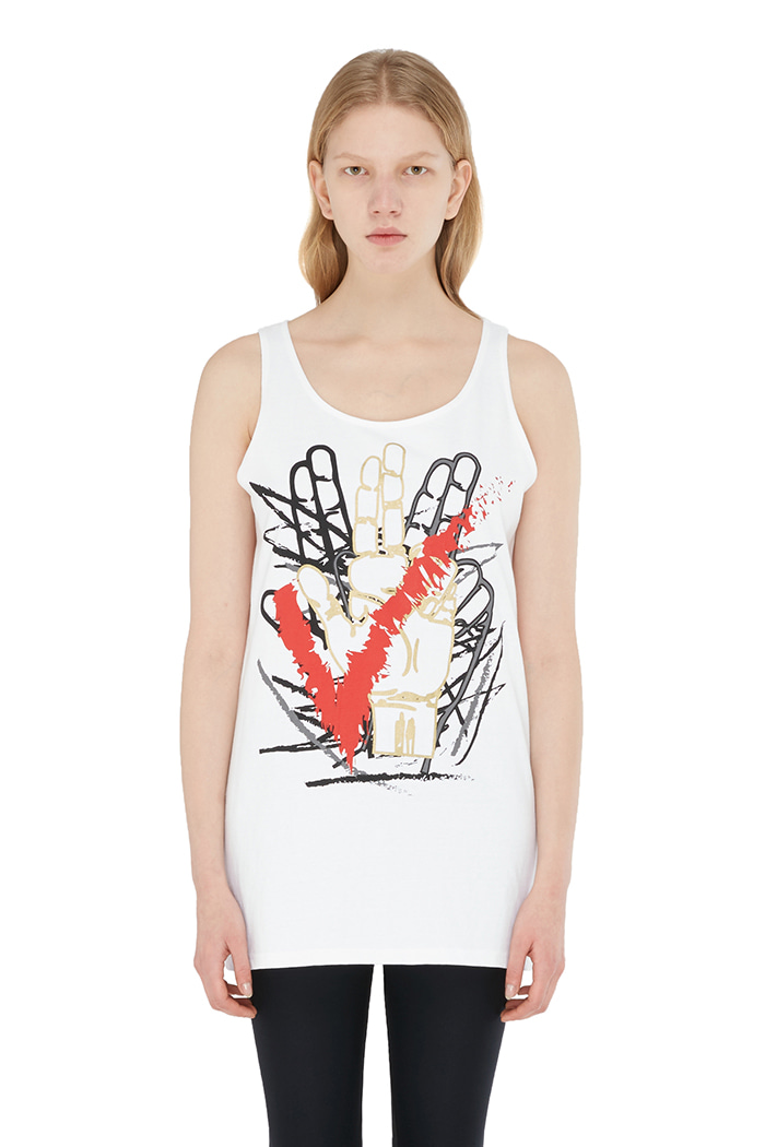 HAND LOGO GRAFFITI SLEEVELESS (WHITE)