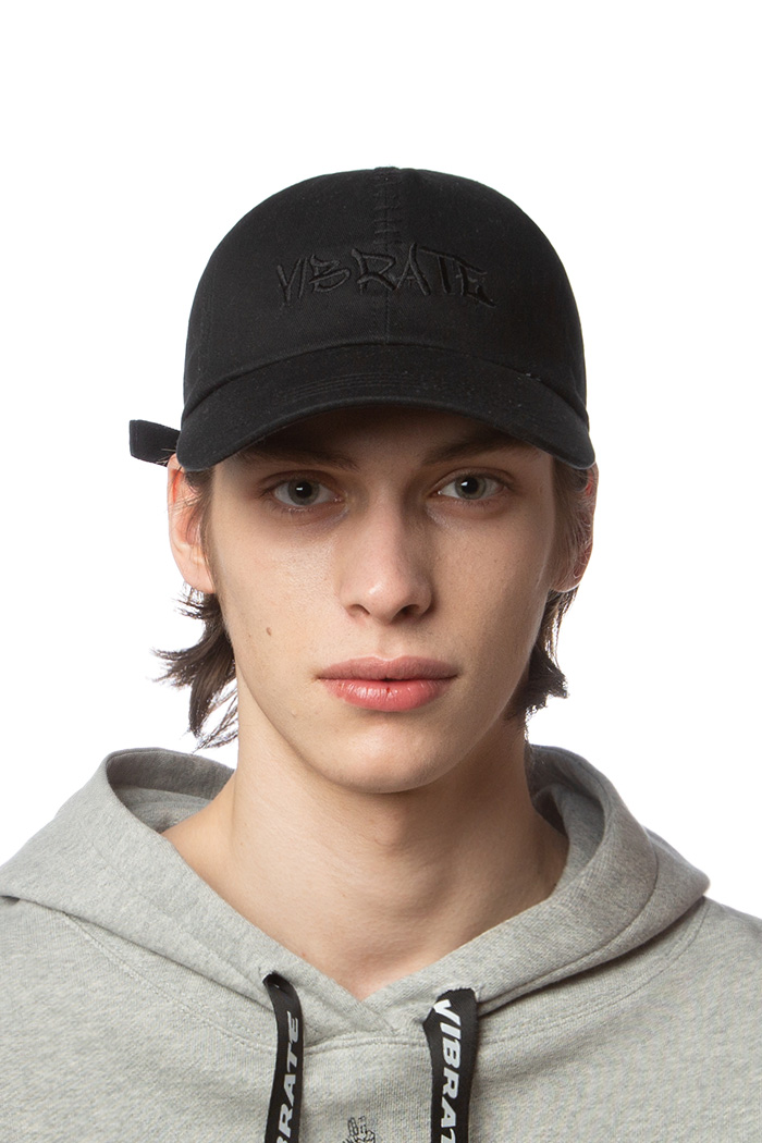 LETTERING LOGO STITCH BALL CAP (BLACK)