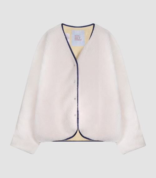 [UNISEX] COMFORTABLE LAYERED FLEECE JACKET - IVORY