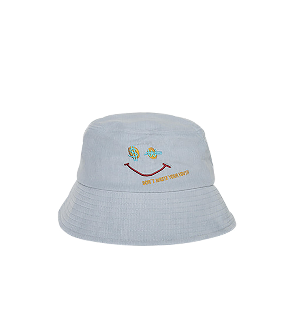 CORDUROY SMILE BUCKET HAT (BLUE)