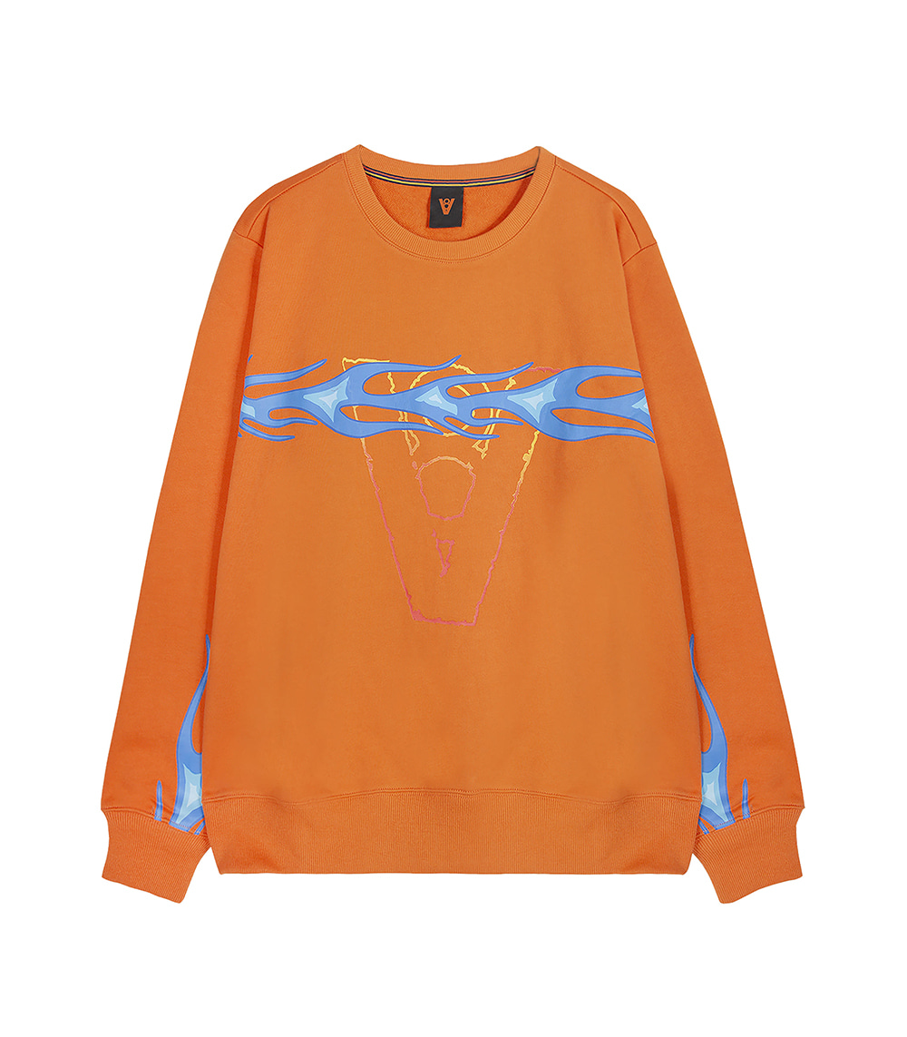 FLAME LINE SWEAT SHIRT (ORANGE)