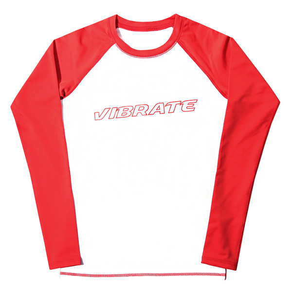 VIBRATE - BASIC LOGO RASH GUARD (woman) (WHITE & RED)