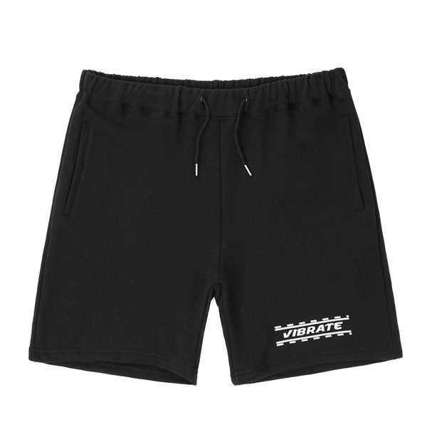 VIBRATE - DOTTED WHITE LINE SHORT PANTS (BLACK)