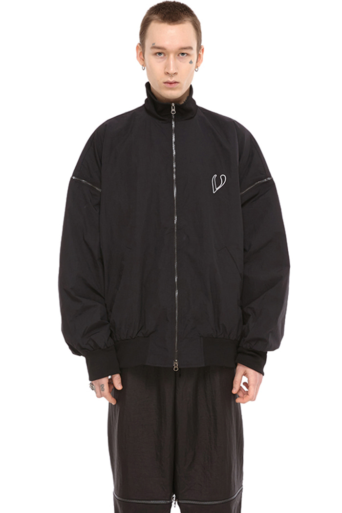 SIDE ZIP BOMBER JACKET (BLACK)