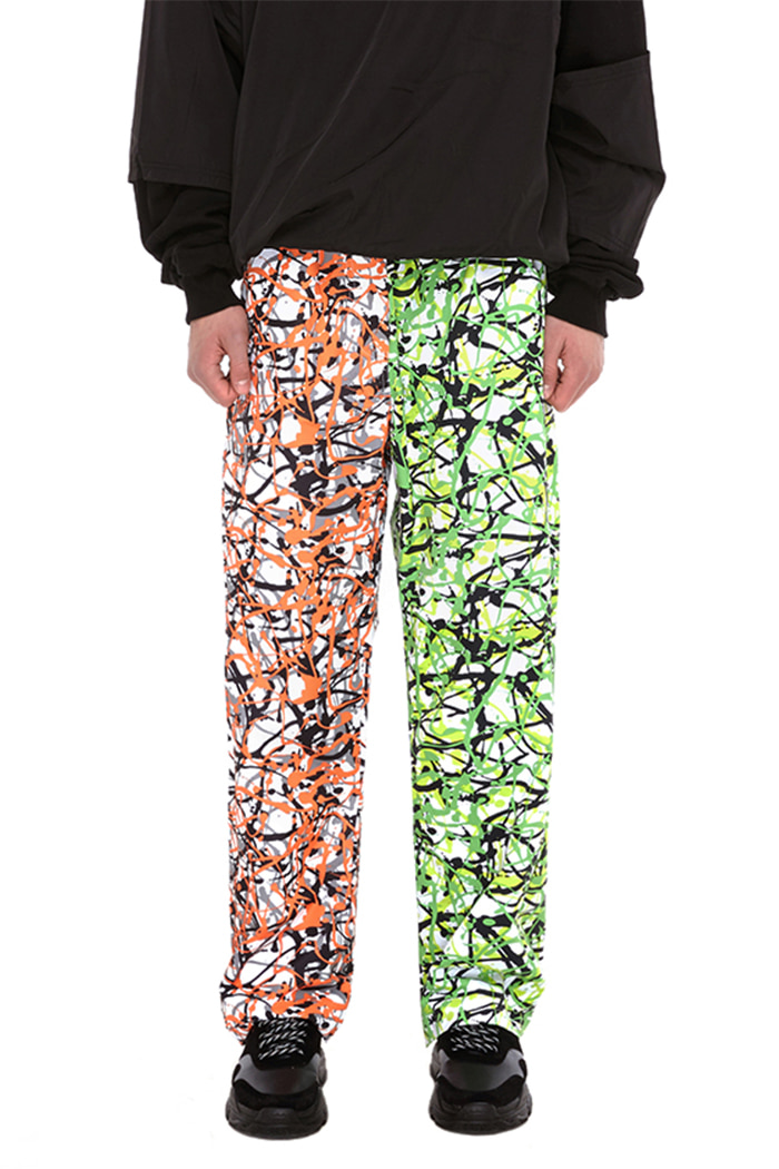 COLOR BLOCK PANTS (ORANGE & GREEN CAMO)