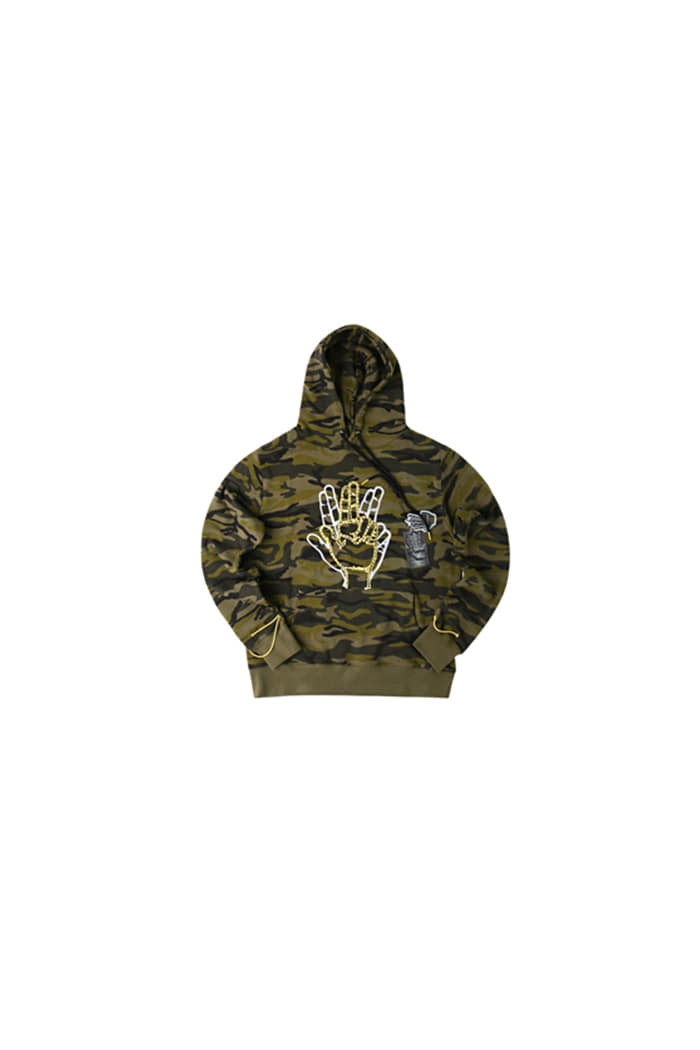 GOLDLINE SLEEVE STRING POINT HOODIE (CAMO)