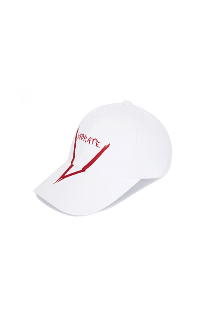 V GRAFFITI LOGO BALL CAP (WHITE&RED)