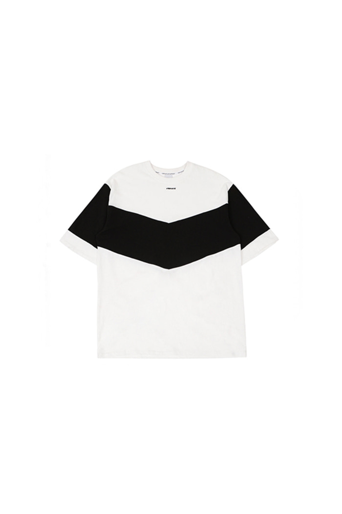 V COLOR SCHEME T-SHIRT (WHITE&BLACK)