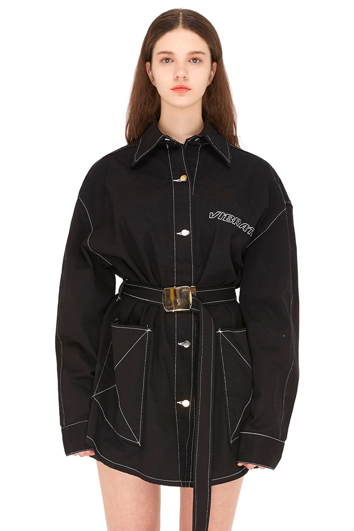 GOLDLINE BELT CROSS COTTON JACKET (BLACK)