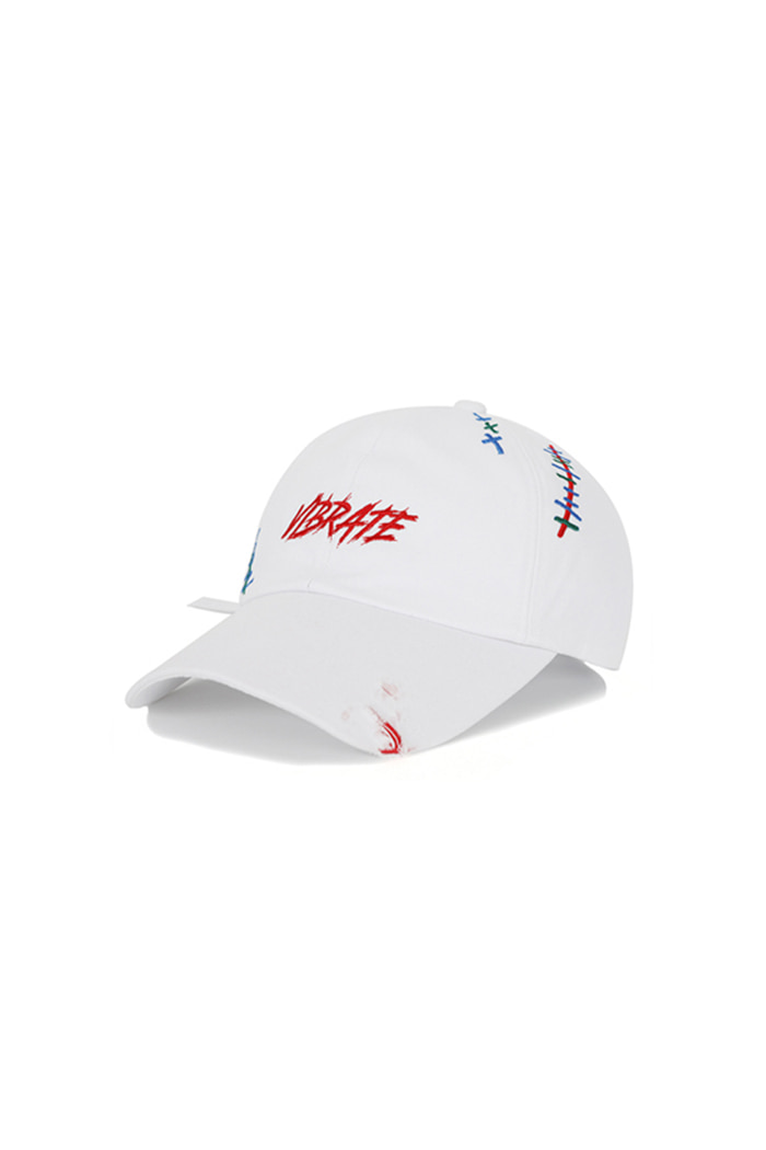 SCRATCH EMBROIDERY DAMAGED BALL CAP (WHITE)
