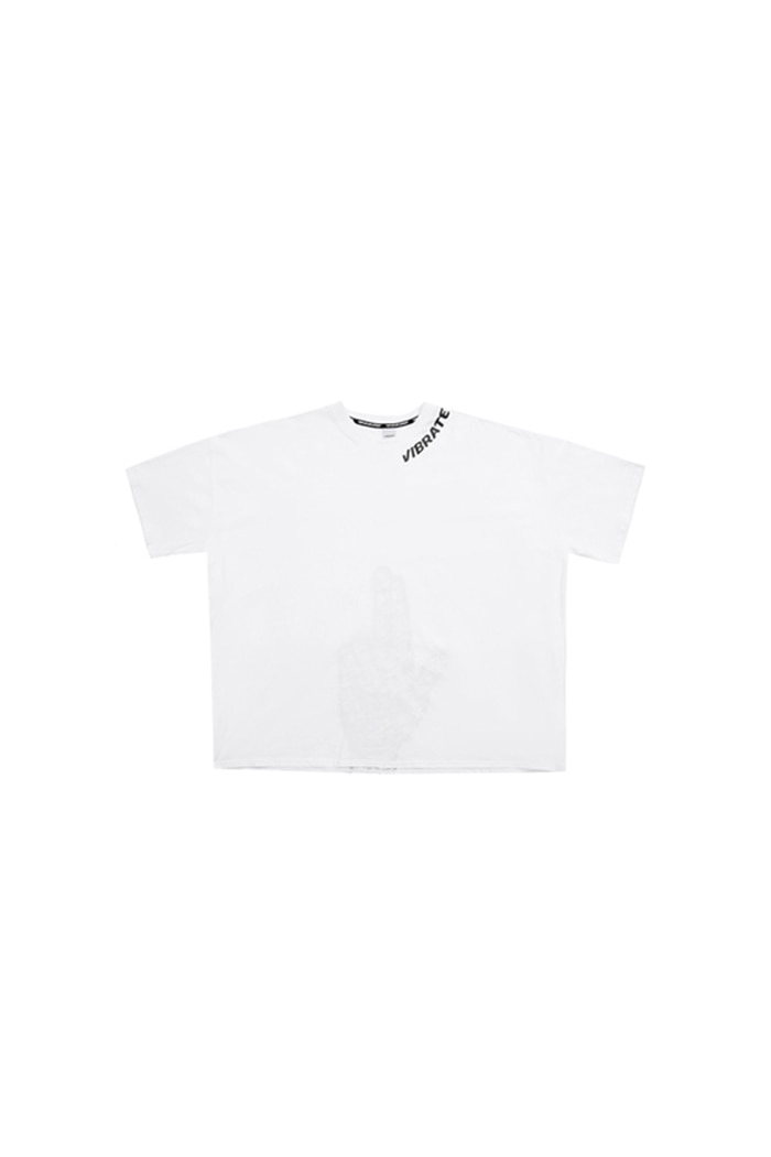 NECK LOGO FINGER PRINTING T-SHIRT (WHITE)