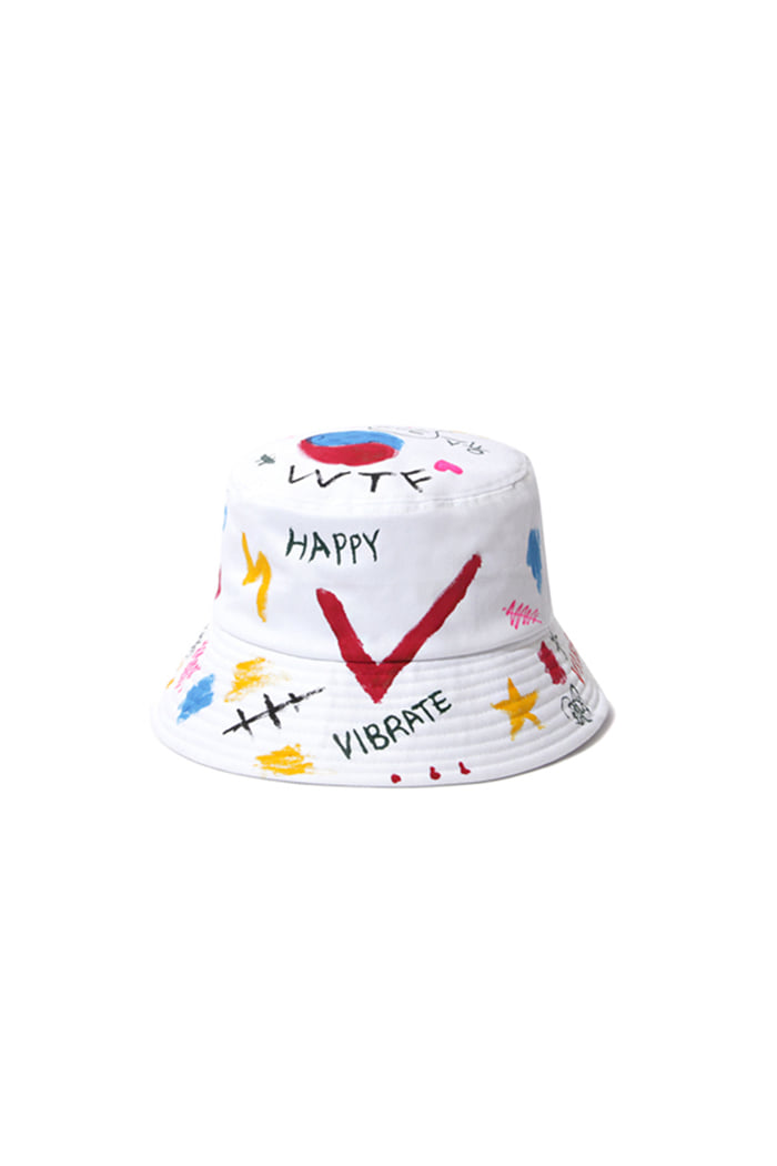 HAPPY SKETCH BUCKET HAT (WHITE)