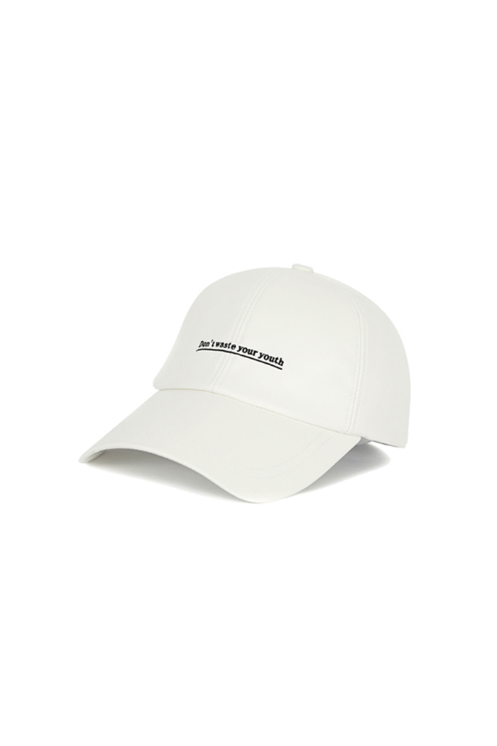 D.W.Y.Y LEATHER BALL CAP (WHITE)
